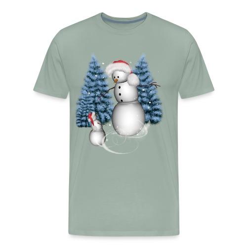 Funny snowman with snow kid - Men's Premium T-Shirt