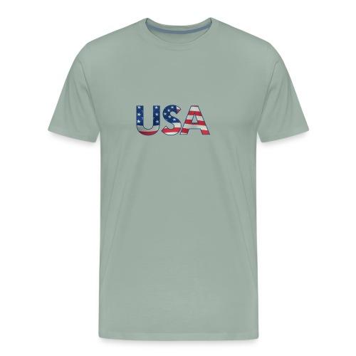 USA Flag T-shirt 4th July Fourth Red White Blue - Men's Premium T-Shirt