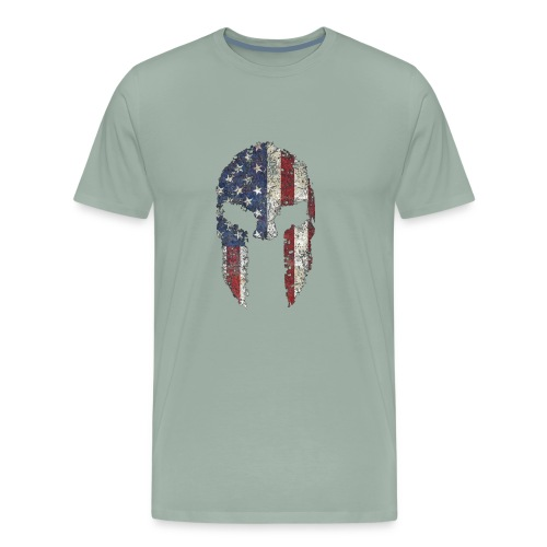 American Spartan Warrior Helmet Patriotic Flag T S - Men's Premium T-Shirt