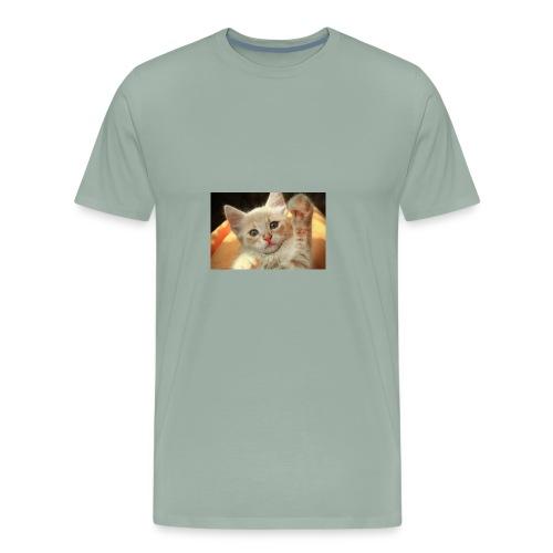 cute kitten high five little light red giving 3032 - Men's Premium T-Shirt
