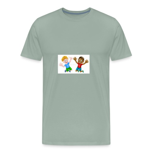 happy cartoon boys young one black one white jumpi - Men's Premium T-Shirt