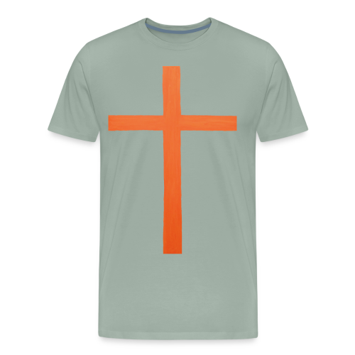 Orange Cross Jesus Rock Design AVE - Men's Premium T-Shirt