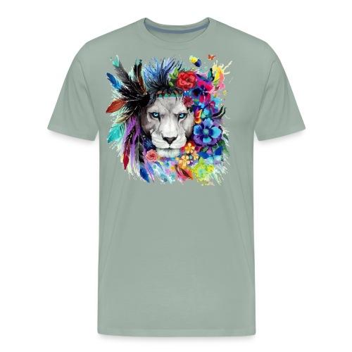 Colorful Lion Pained Look effect - Men's Premium T-Shirt