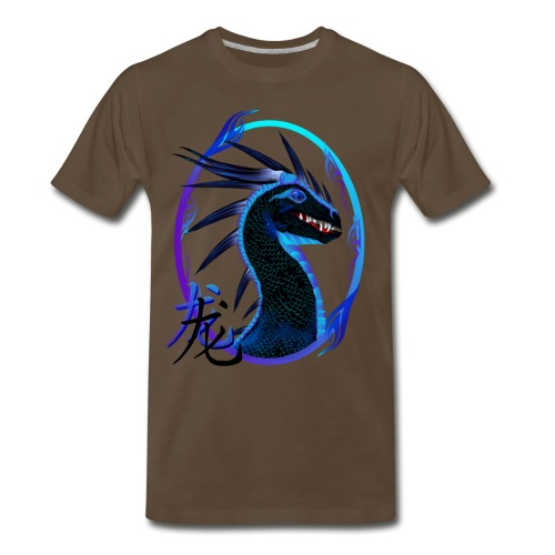 Horned Black Dragon and Symbol - Men's Premium T-Shirt
