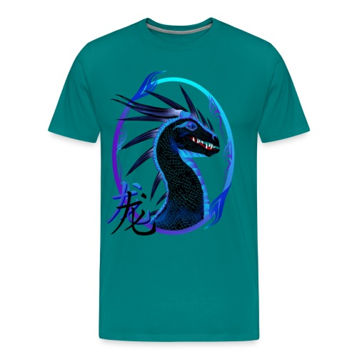 Horned Black Dragon and Symbol - Men's Premium T-Shirt