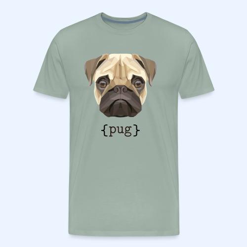 Cute Watercolor Pug Face Definition - Men's Premium T-Shirt