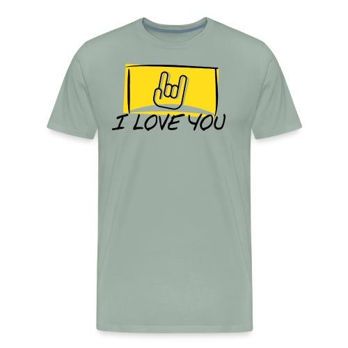 I Love You with sign language Yellow window. - Men's Premium T-Shirt