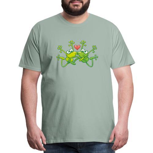 Frogs in love performing an acrobatic jumping kiss - Men's Premium T-Shirt