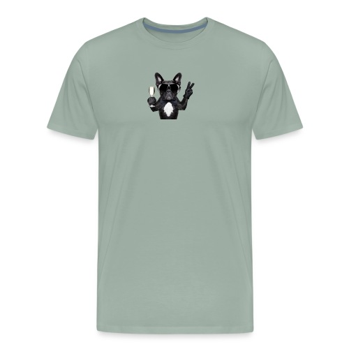 Party dog drinking champagne - Men's Premium T-Shirt