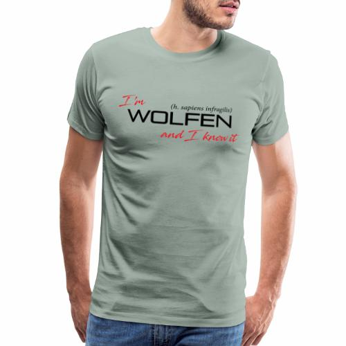 Front/Back: Wolfen Attitude on Light- Adapt or Die - Men's Premium T-Shirt