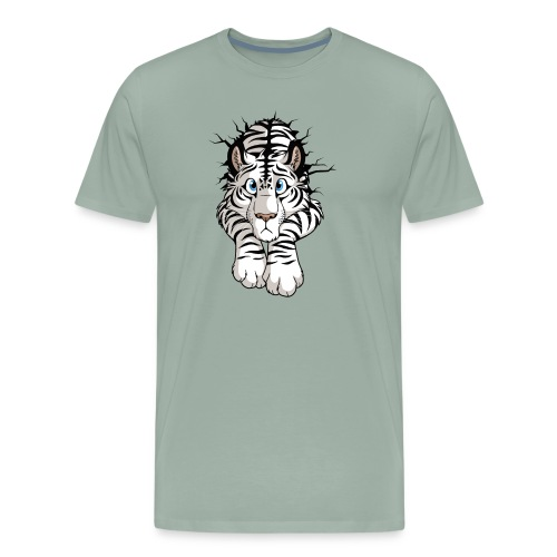 STUCK Tiger White (double-sided) - Men's Premium T-Shirt