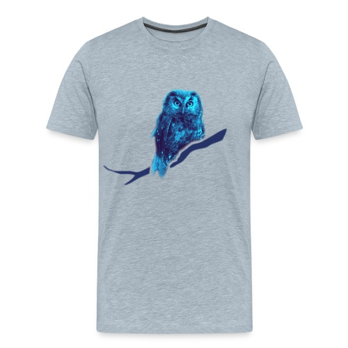 owl bird fowl blue - Men's Premium T-Shirt