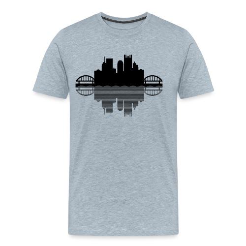 Pittsburgh Skyline Reflection (Black) - Men's Premium T-Shirt