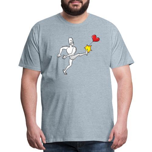 Furious white man violently kicking a red heart - Men's Premium T-Shirt