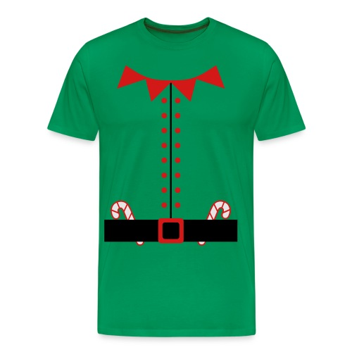 Humorous Santa Claus Elf Suit with Candy Canes - Men's Premium T-Shirt