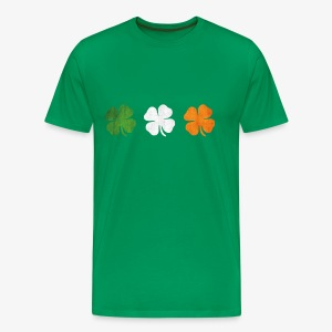 Great St Patricks 3 four-leaf clover Irish Flag - Men's Premium T-Shirt