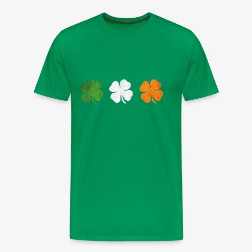 Great St Patricks 3 four-leaf clover Irish Flag - Men's Premium T-Shirt