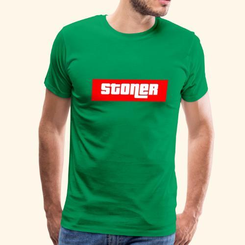 Stoner Logo on Red Background - Men's Premium T-Shirt