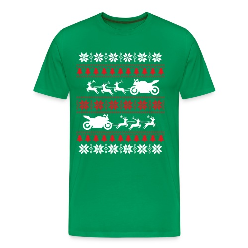 Motorcycle Ugly Christmas Sweater - Men's Premium T-Shirt