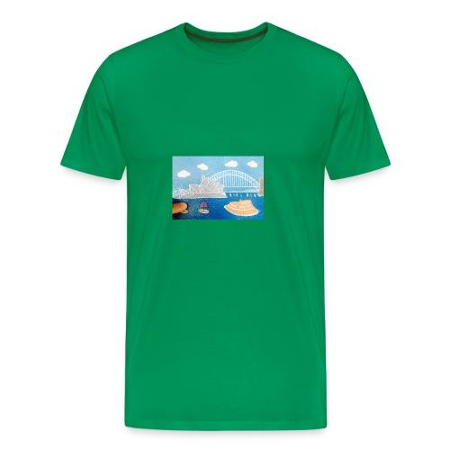 Sydney Harbour Sand Art 800x554 - Men's Premium T-Shirt