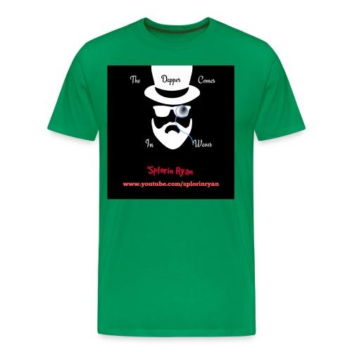 The Dapper Comes in Waves (White on Black Version) - Men's Premium T-Shirt