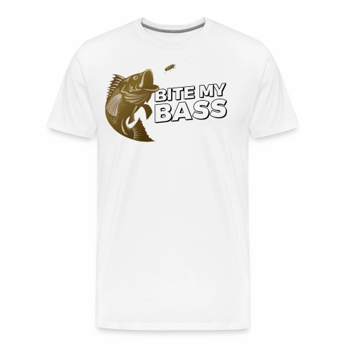 Bass Chasing a Lure with saying Bite My Bass - Men's Premium T-Shirt