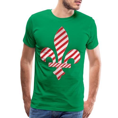 Peppermint Candy Cane Striped New Orleans Fleur - Men's Premium T-Shirt