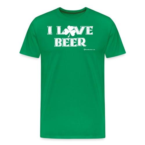 I Love Beer (Shamrock) White - Men's Premium T-Shirt