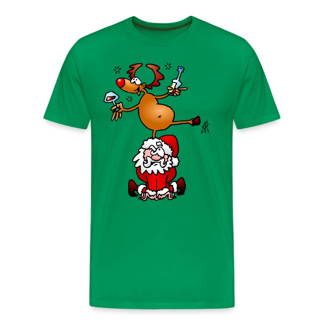 Reindeer is having a drink on Santa Claus - Men's Premium T-Shirt