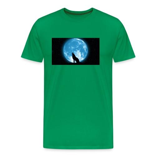488234 wolf howling at the moon wallpaper 2560x144 - Men's Premium T-Shirt