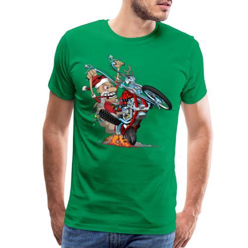 Biker Santa on a chopper cartoon illustration - Men's Premium T-Shirt