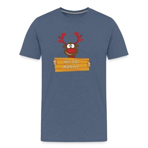 Red Christmas Horny Reindeer 9 - Men's Premium T-Shirt