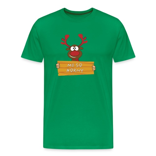 Red Christmas Horny Reindeer 9 - Men's Premium T-Shirt