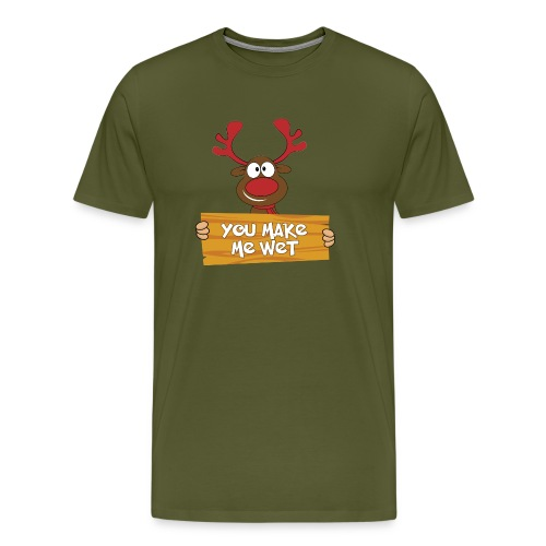 Red Christmas Horny Reindeer 5 - Men's Premium T-Shirt