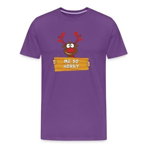 Red Christmas Horny Reindeer 3 - Men's Premium T-Shirt