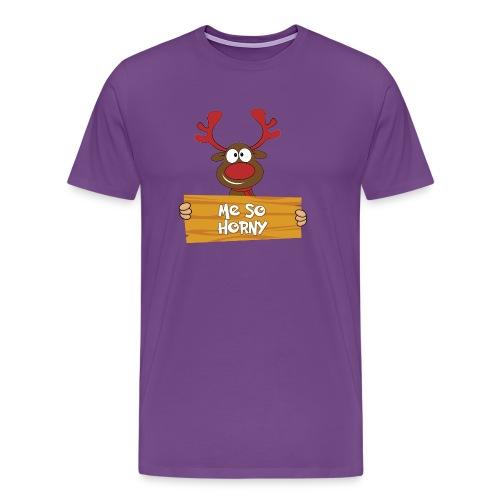 Red Christmas Horny Reindeer 6 - Men's Premium T-Shirt