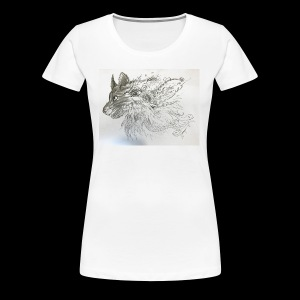 Black and White Wolf - Women's Premium T-Shirt