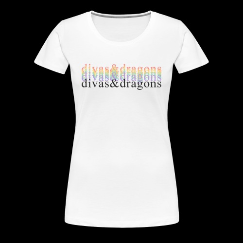 divas&dragons (rainbow) - Women's Premium T-Shirt