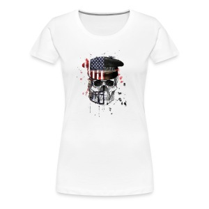 American Flag Military Cap Skull collection - Women's Premium T-Shirt