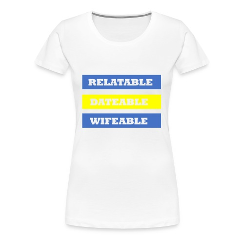 DATEABLE BLUE AND YELLOW - Women's Premium T-Shirt