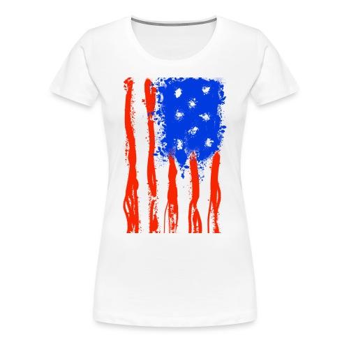 US Flag Flowing Stripes - Women's Premium T-Shirt