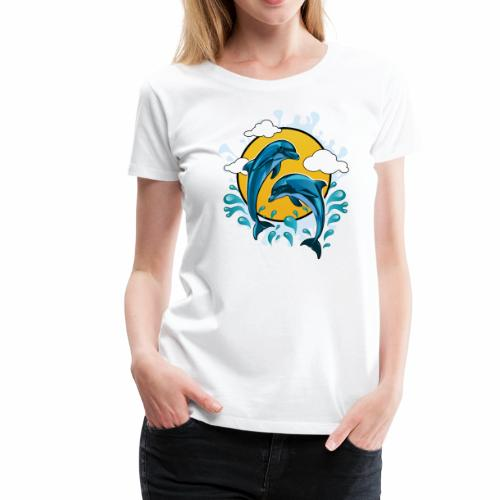 Dolphins jumping with sun - Women's Premium T-Shirt