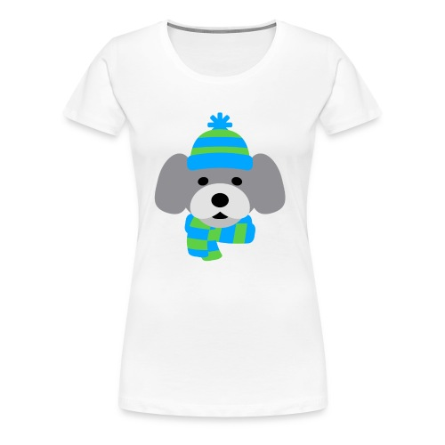 Cute Dog in Winter hat blue and green strips - Women's Premium T-Shirt