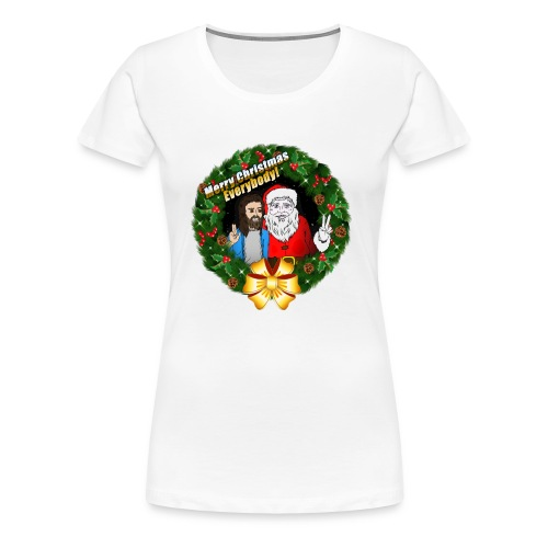 Merry Christmas: Santa And Christ Tshirt - Women's Premium T-Shirt