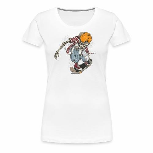 Skeleton Skateboard T-shirt Graphic - Women's Premium T-Shirt