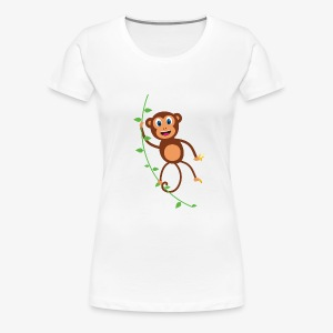 Funny Monkey Swinging On A Vine Merchandise - Women's Premium T-Shirt