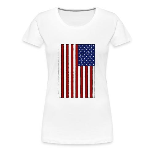 USA Flag (Distressed) - Women's Premium T-Shirt