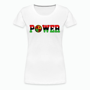 Afrikan Power with Logo and Black trim - Women's Premium T-Shirt