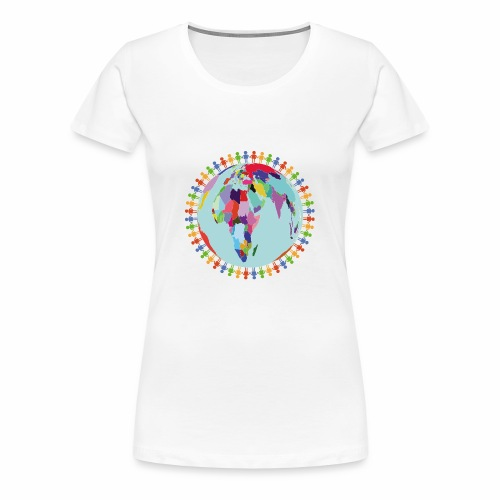 Community Group/Earth Globe/Earth Day/ Human Frame - Women's Premium T-Shirt