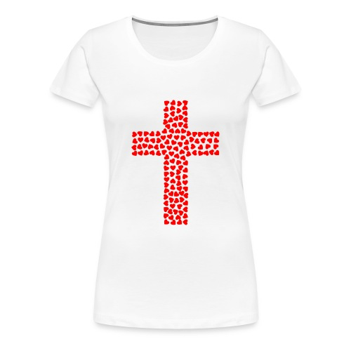 Cross with hearts - Women's Premium T-Shirt